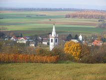 A white church tower in Lutzmannsburg. stock photos