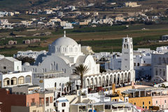 White Church town of Fira, Santorini island, Thira, Greece Royalty Free Stock Image
