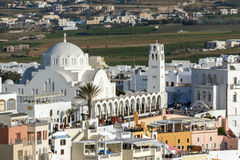 White Church town of Fira, Santorini island, Thira, Greece Stock Photos
