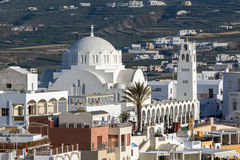 White Church town of Fira, Santorini island, Thira, Greece Stock Image