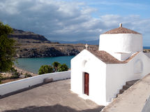 White church. In the town of Lindos on Rhodes Royalty Free Stock Photography