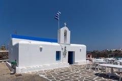 White church in town of Naoussa, Paros island, Greece Stock Image