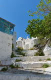 White church under the Querini castle at Astypalea Royalty Free Stock Photo