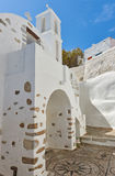 White church under the Querini castle at Astypalea Royalty Free Stock Photos