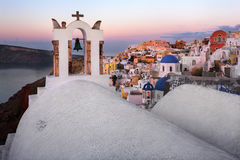 White Churches of Oia Village in the Morning, Santorini, Greece Stock Image
