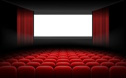 White cinema theatre screen with red curtains and chairs. White luminous cinema movie theatre screen with red curtains and rows of chairs, realistic vector Royalty Free Stock Images