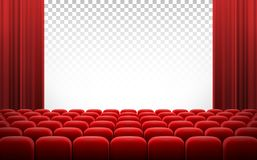 White cinema theatre screen with red curtains and chairs. White transparent cinema movie theatre screen with red curtains and rows of chairs, realistic vector Royalty Free Stock Photos