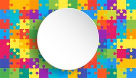 White Circle Banner Colorful Background Puzzle. Jigsaw Puzzle Banner. Vector Illustration Template Shape. Abstract Puzzle Background. Puzzle Game, Mosaic Royalty Free Stock Image