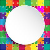 White Circle Banner Colorful Background Puzzle. Jigsaw Puzzle Banner. Vector Illustration Template Shape. Abstract Puzzle Background. Puzzle Game, Mosaic Stock Photography