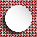 White circle button on red sequin background. Stock Photos