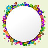 The white circle with flowers in the background. And green backgraund Royalty Free Stock Photography