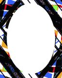 Circle Frame Background with Decorated Borders. White circle frame background with decorated design borders Royalty Free Stock Photo
