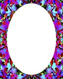 Circle Frame Background with Decorated Borders. White circle frame background with decorated design borders Stock Photo