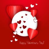 White circle with hearts on a red background. Vector illustration stock photo