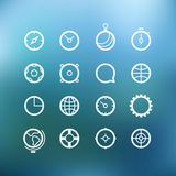 White circle icons clip-art on color background Royalty Free Stock Photography