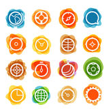 White circle icons clip-art on color blots Royalty Free Stock Images