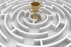 White circle labyrinth with cup. Royalty Free Stock Images