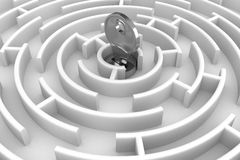 White circle labyrinth with key Stock Photo