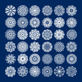 36 white circle lace pattern big collection, christmas design. Snowflake set, ethnic background vector illustration Royalty Free Stock Images