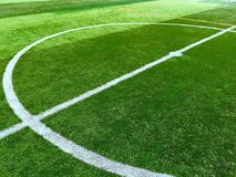 White circle line at center of football pitch Stock Images