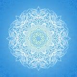 White circle ornament on blue backdrop. Stock Image