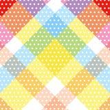 White circle polka dot pattern sweet colorful diagonal cross striped background. Vector illustration image royalty free illustration