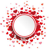White Circle Red Hearts Stock Photo