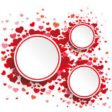 3 White Circles Hearts. White paper circles with red hearts on the white background Royalty Free Stock Image