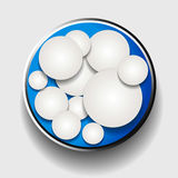 White circles in metallic border over blue Stock Photo