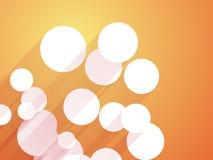 White circles orange background. White circles with long shadows orange background Stock Image