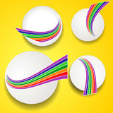 White circles with rainbow waves on yellow background Stock Image