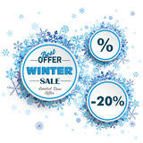 White Circles Winter Sale Blue Snowflakes. White paper circles with blue snowflakes for winter sale on the white background royalty free illustration