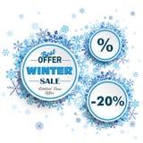 White Circles Winter Sale Blue Snowflakes Stock Photos
