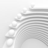 White Circular Construction. 3d Illustration of White Circular Construction. Modern Architecture Background. Creative Web Wallpaper Stock Photo