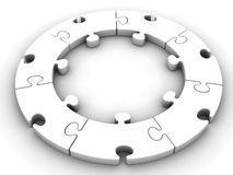 White circular jigsaw,circular puzzle on white background with clipping path Royalty Free Stock Photo