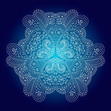 White circular ornament on a blue background. Royalty Free Stock Photos