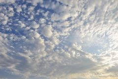 White cirrus clouds in the sky Stock Photo