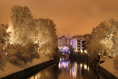 White city. Snow in the city by night stock photos