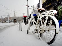 White City Bike Cover With Snow Stock Images