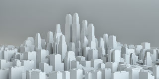 White city downtown. On gray background. 3d illustration stock illustration