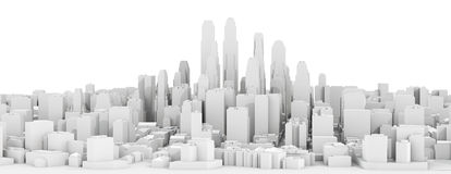 White city downtown. Isolated on white background. 3d illustration royalty free illustration