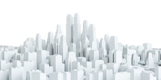 White city downtown. Isolated on white background. 3d illustration stock illustration