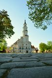 White city hall building in old town Kaunas, Lithuania stock photo