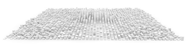 White city made of cubes. 3d rendering isolated royalty free illustration