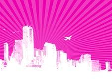 White city on pink background. Stock Photos
