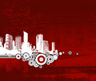 White city with red background. Stock Image
