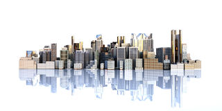 White city with reflection 3d rendering image on white Royalty Free Stock Photo