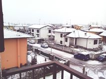 White city. Snow in the city during the winter Royalty Free Stock Photo