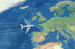 White Civil Airplane. Over the Atlantic ocean flying to Europe Stock Photos