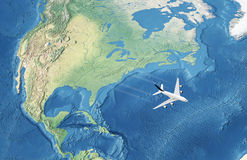 White Civil Airplane over the Atlantic royalty free stock image